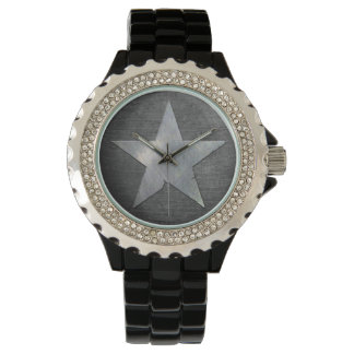 Cool Army Star Brushed Metal Background Watch