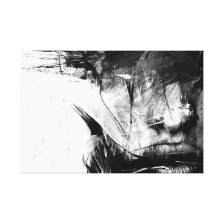 Cool Art Abstract Black White Face Woman Canvas Print