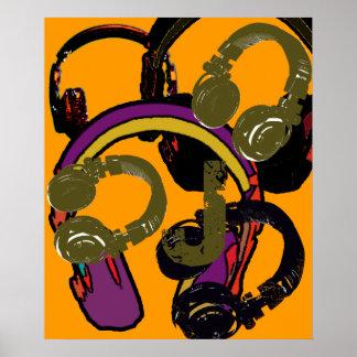 cool art deejay headphones poster
