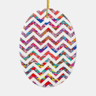 Cool, Artistic, Chevron Pattern Ceramic Oval Ornament