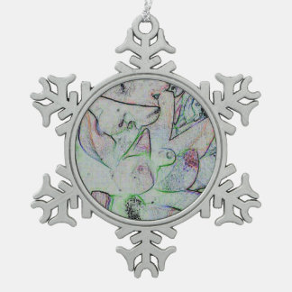 Cool Artistic Contemporary Abstract Pattern Pewter Snowflake Ornament