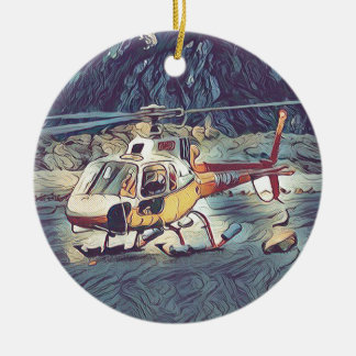 Cool Artistic Helicopter Round Ceramic Ornament