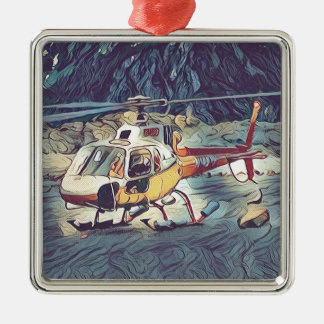 Cool Artistic Helicopter Silver-Colored Square Ornament