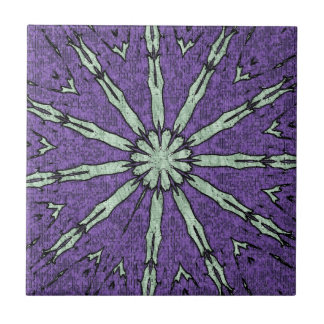 Cool Artistic Lavender Mint Mandala Pattern Ceramic Tile
