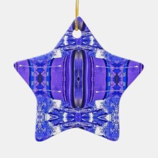 Cool Artistic Lavender Periwinkle Blue Pattern Ceramic Star Ornament