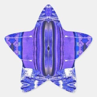 Cool Artistic Lavender Periwinkle Blue Pattern Star Sticker
