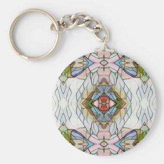 Cool Artistic Modern Stained Glass Pattern Basic Round Button Keychain