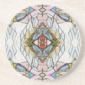 Cool Artistic Modern Stained Glass Pattern Drink Coaster