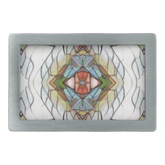 Cool Artistic Modern Stained Glass Pattern Rectangular Belt Buckle