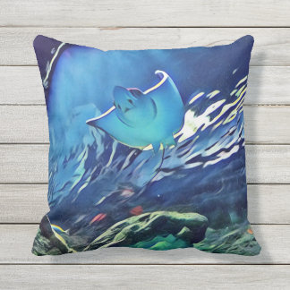 Cool Artistic Paint  Underside of Stingray Throw Pillow