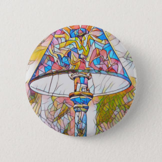 Cool Artistic Stained Glass Lamp Shade 2 Inch Round Button