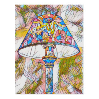 Cool Artistic Stained Glass Lamp Shade Postcard