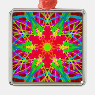 Cool Artistic Star Shaped Psychedelic Pattern Silver-Colored Square Ornament