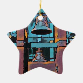 Cool Artistic Turquoise Magenta Hanging Bells Ceramic Star Ornament