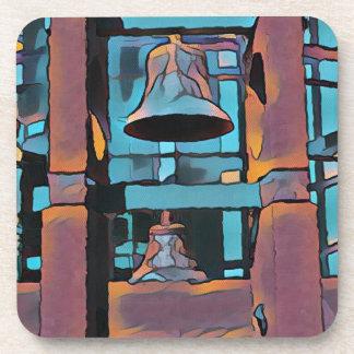 Cool Artistic Turquoise Magenta Hanging Bells Drink Coaster