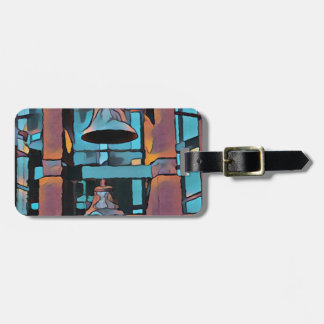 Cool Artistic Turquoise Magenta Hanging Bells Luggage Tag