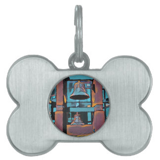 Cool Artistic Turquoise Magenta Hanging Bells Pet ID Tag