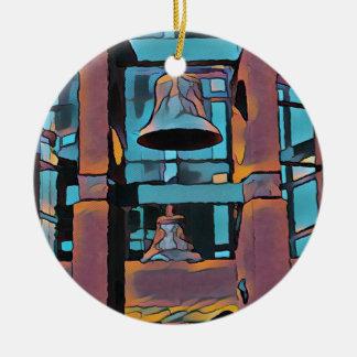 Cool Artistic Turquoise Magenta Hanging Bells Round Ceramic Ornament