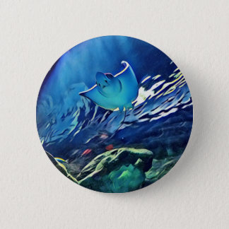 Cool Artistic Underside of Stingray 2 Inch Round Button