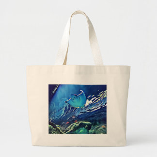 Cool Artistic Underside of Stingray Large Tote Bag