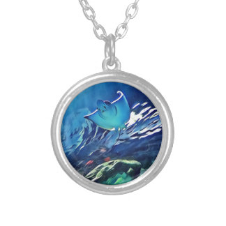 Cool Artistic Underside of Stingray Silver Plated Necklace