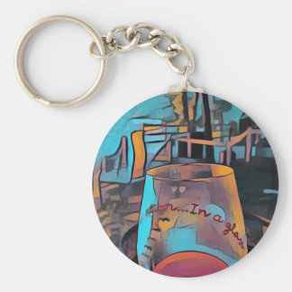Cool Artistic Wine Glass Basic Round Button Keychain