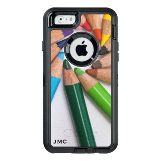 Cool Artsy Colorful Colored Pencils Monogrammed OtterBox Defender iPhone Case
