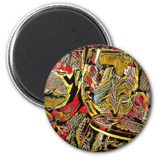 Cool Artsy Modern Wine Glass Decor 2 Inch Round Magnet