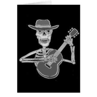Cool Artsy Skeleton Playing Guitar Card