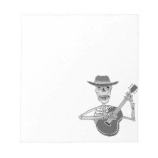 Cool Artsy Skeleton Playing Guitar Notepad