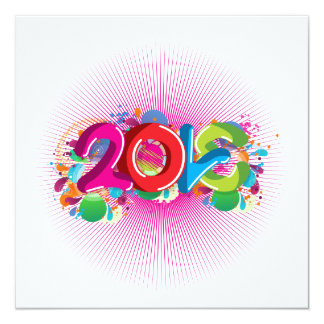 "cool awesome colourful Love 2013 splatter doodles 5.25"" Square Invitation Card"