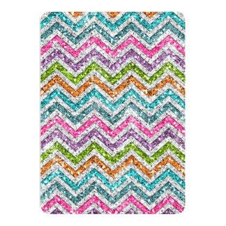 "Cool awesome trendy bright colours chevron zigzag 5"" x 7"" invitation card"