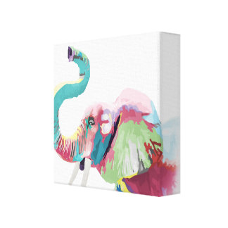 Cool awesome trendy colorful vibrant elephant canvas print