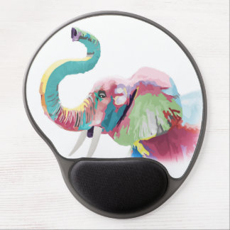 Cool awesome trendy colorful vibrant elephant gel mouse pad