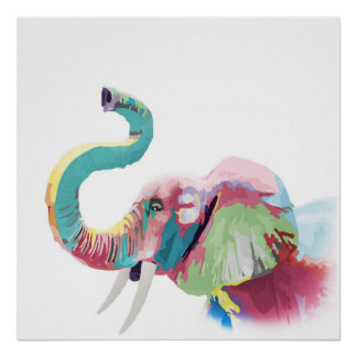 Cool awesome trendy colorful vibrant elephant poster