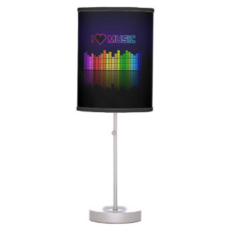 "Cool awesome trendy ""I Love Music"" neon colours Table Lamp"