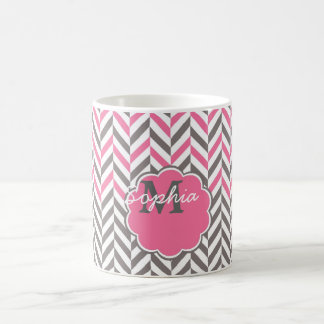 Cool awesome trendy monogram herringbone zigzag coffee mug