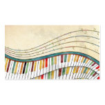Cool awesome wavy piano retro colours antique business card