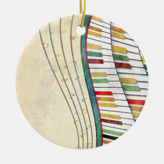 Cool awesome wavy piano retro colours antique ceramic ornament