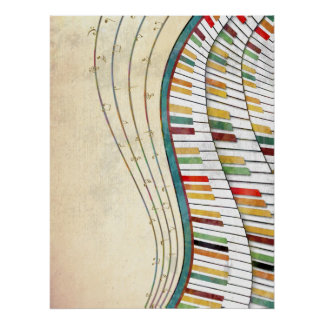 Cool awesome wavy piano retro colours antique poster