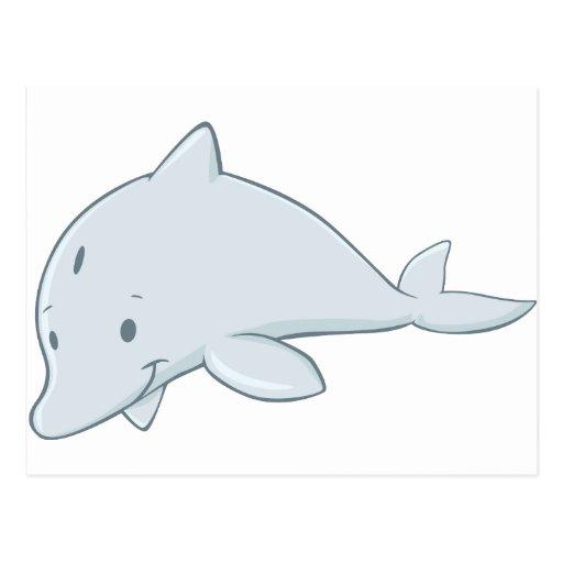 Cool Baby Bottlenose Dolphin Cartoon Postcard   Zazzle