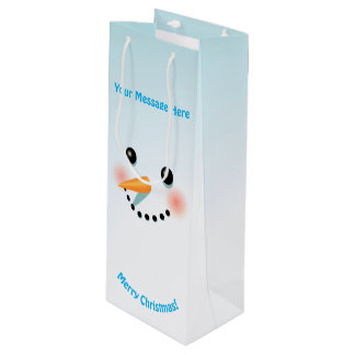 Cool Baby Snowman With Rosy Cheeks Wine Gift Bag