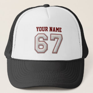 Cool Baseball Stitches - Custom Name and Number 67 Trucker Hat