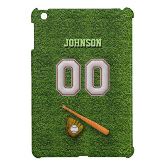 Cool Baseball Stitches - Custom Number 00 and Name iPad Mini Covers