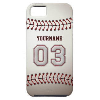 Cool Baseball Stitches - Custom Number 03 and Name iPhone 5 Covers