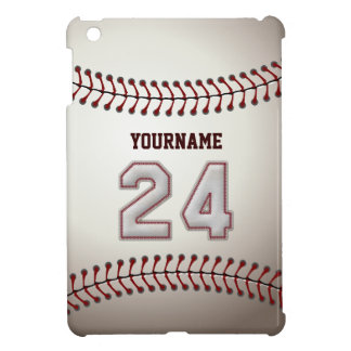 Cool Baseball Stitches - Custom Number 24 and Name iPad Mini Cases