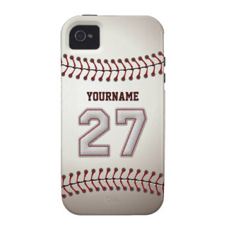 Cool Baseball Stitches - Custom Number 27 and Name iPhone 4 Covers