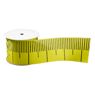 Cool Basic Yellow Black Measuring Tape Satin Ribbon