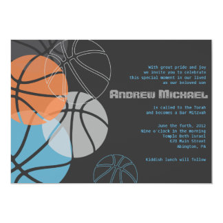 COOL BASKETBALL Bar Bat Mitzvah Invitation Invite
