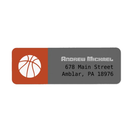 COOL BASKETBALL Bar Mitzvah return address label